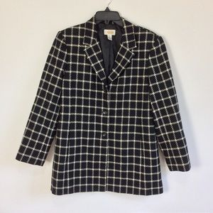 Talbots Windowpane Wool Car Coat